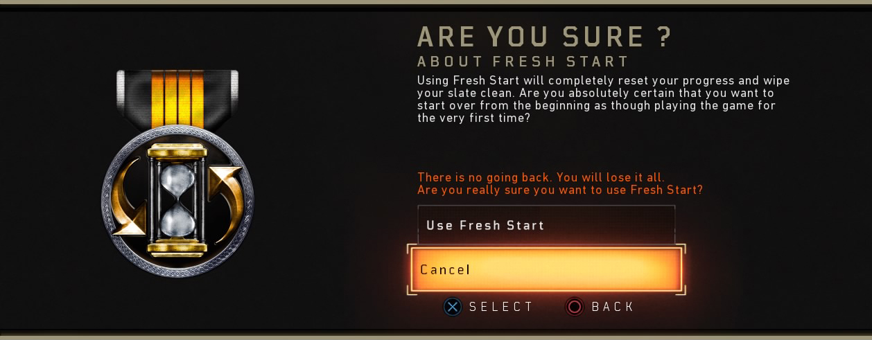 Black Ops 4 Fresh Start Are You Sure