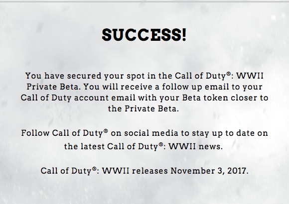 Call of Duty: WWII Private Beta confirmation