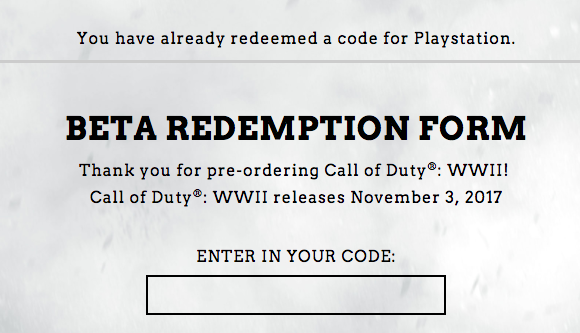 Call of Duty: WWII Private Beta status